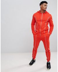ASOS - Tracksuit Zip Up Hoodie/super Skinny joggers With Piping In Red And White - Lyst