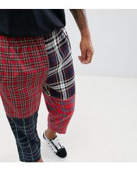 Reclaimed (vintage) - Inspired Patchwork Check Trouser - Lyst