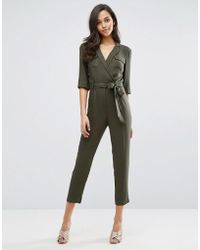 Miss Selfridge | 3/4 Sleeve Utility Jumpsuit | Lyst