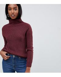 Noisy May Tall - Cable Knit High Neck Sweater - Lyst