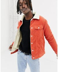 Pull&Bear - Borg Lined Jacket In Orange - Lyst