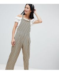 Monki - Wide Leg Striped Dungaree In Beige And Black - Lyst