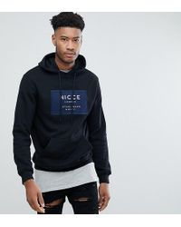 Nicce London - Tall Hoodie In Black With Navy Box Logo - Lyst