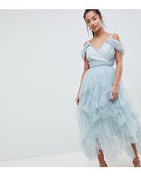 True Decadence - Premium Layered Tulle Cami Midi Dress - Lyst