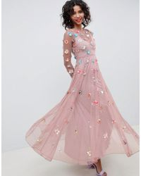 bc103eff7a84 ASOS Floral Embroidered Dobby Mesh Flutter Sleeve Maxi Dress in Pink - Lyst