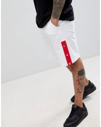 Boohoo - Jersey Shorts With Poppers In White - Lyst