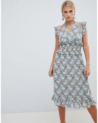 3126dc3a9c43 Lyst - Vila Short Sleeve Belted Shift Dress in Blue