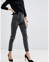 ASOS - Farleigh High Waist Slim Mom Jeans In Washed Black With Busted Knees - Lyst