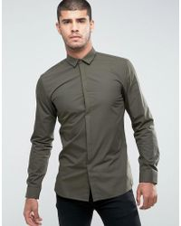 HUGO - Ebros Extra Slim Fit Poplin Shirt In Khaki - Lyst