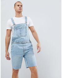 Bershka - Denim Overall Shorts In Light Blue - Lyst