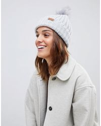 Barbour - Chunky Knit Pom Pom Beanie Hat - Lyst