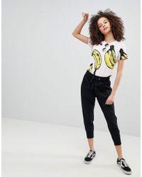Bershka - jogging Pants With Drawstring Waist In Black - Lyst
