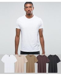 ASOS - T-shirt With Crew Neck 5 Pack Save - Lyst