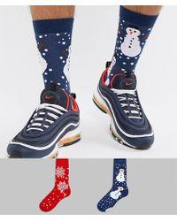 666bb9768816cb ASOS DESIGN - Christmas Socks With Snowman   Snowflake Design 2 Pack - Lyst