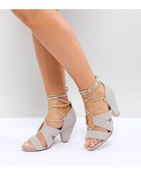 ASOS - Tali Wide Fit Lace Up Heeled Sandals - Lyst