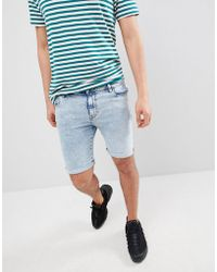 ASOS - Denim Shorts In Super Skinny Heavy Bleach Wash - Lyst