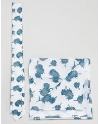 ASOS - Design Floral Tie And Pocket Square Pack In Mint - Lyst