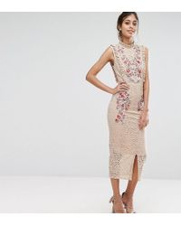 Hope and Ivy - Hope & Ivy Embroidered High Neck Midi Dress In Allover Lace - Lyst