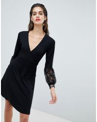 ASOS - Wrap Dress With Lace Sleeves - Lyst