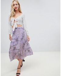 Oasis - Midi Skirt With Tiered Detail In Lilac Print - Lyst