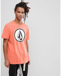 Volcom - T-shirt With Large Logo In Salmon - Lyst