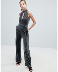 3e0793dc58e Missguided Keyhole Wide Leg Jumpsuit White in White - Lyst