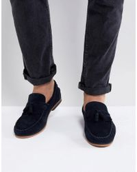 ASOS - Asos Tassel Loafers In Navy Suede With Fringe And Natural Sole - Lyst