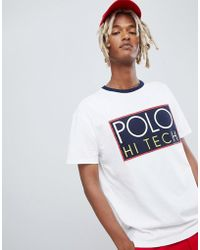 Polo Ralph Lauren - Hi Tech Capsule Box Logo T-shirt Ringer Neck In White - Lyst