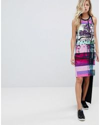 Versace Jeans - Hi-lo Tank Dress With Palm Print Logo - Lyst