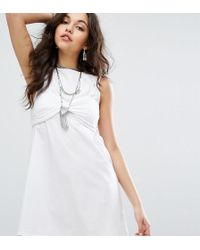 Missguided - Broderie Bralet Overlay Shift Dress - Lyst