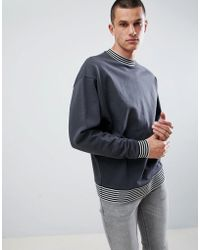 ASOS DESIGN - Oversized Sweatshirt In Washed Black With Tipping - Lyst