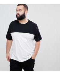 ASOS - Plus Relaxed T-shirt With Contrast Yoke In White - Lyst