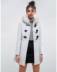 ASOS - Duffle Coat With Faux Fur Hood - Lyst