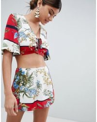 Missguided - Floral Mixed Print Shorts - Lyst