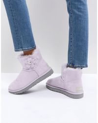 UGG - Mini Bailey Button Poppy Pink Flat Ankle Boots - Lyst