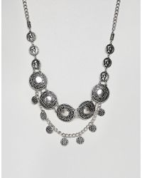 ASOS - Festival Style Statement Bib With Coins In Burnished Silver Tone - Lyst