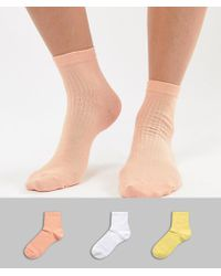ASOS - Design 3 Pack Rib Ankle Sock - Lyst