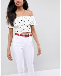 Glamorous - Red Round Double Ring Belt - Lyst