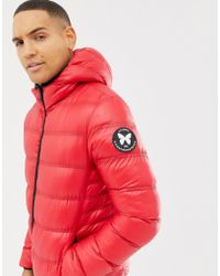 Good For Nothing - Hooded Puffer Jacket In Red Wet Look - Lyst