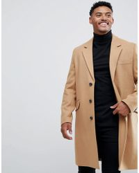 ASOS - Wool Mix Overcoat In Camel - Lyst