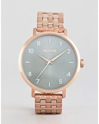 Nixon - A1090 Arrow Bracelet Watch In Rose Gold/green - Lyst