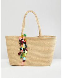Bershka - Straw Shopper With Pom Pom Detail - Lyst