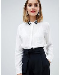 Mango - Embellished Collar White Shirt - Lyst