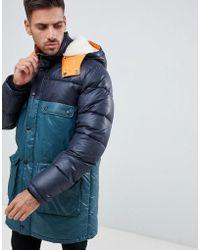 ASOS - Longline Parka Jacket With Faux Fur Trim In Color Block - Lyst