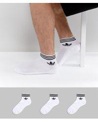 adidas Originals - 3 Pack Ankle Socks In White Az6288 - Lyst