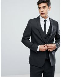ASOS - Skinny Suit Jacket In Charcoal - Lyst