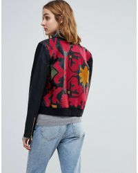 Free People - Embroidered Vegan Leather Moto Jacket - Lyst
