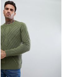 Bershka - Cable Knit Sweater In Olive Green - Lyst