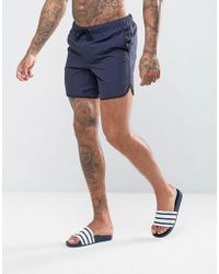 ASOS | Runner Swim Shorts In Navy Mid Length | Lyst