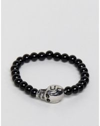 Jack & Jones - Beaded Braclet With Skull Detail - Lyst